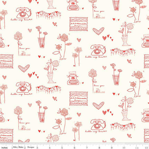 SALE From the Heart Main C10050 Cream - Riley Blake Designs - Valentine's Red Flowers Typewriters Hearts Telephones - Quilting Cotton Fabric