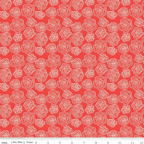 SALE From the Heart Roses C10052 Red - Riley Blake Designs - Valentine's Cream Outlined Flowers Floral - Quilting Cotton Fabric
