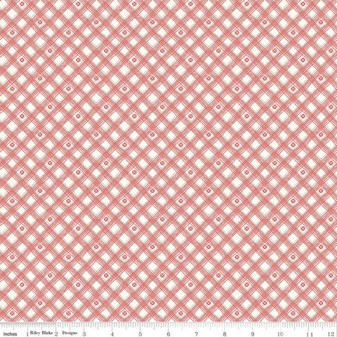 SALE From the Heart Plaid C10055 Cream - Riley Blake Designs - Valentine's Diagonal Lines Hearts - Quilting Cotton Fabric