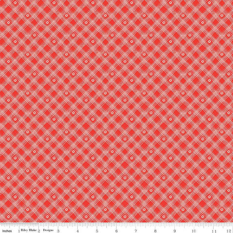 SALE From the Heart Plaid C10056 Red - Riley Blake Designs - Valentine's Diagonal Lines Hearts - Quilting Cotton Fabric