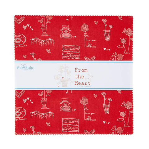 "From the Heart Layer Cake 10"" Stacker Bundle - Riley Blake Designs - 42 piece Precut Pre cut - Valentine's Day - Quilting Cotton Fabric"