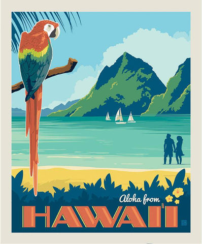 SALE Destinations Poster Panel P10163 Hawaii - by Riley Blake Designs - Beach Parrot Mountains Aloha from Hawaii - Quilting Cotton Fabric