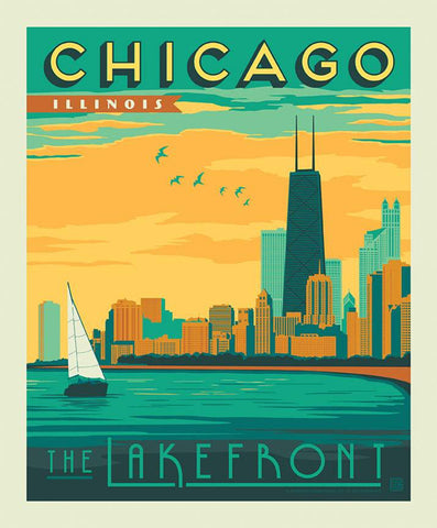SALE Destinations Poster Panel P10160 Chicago - by Riley Blake Designs - Lakefront Skyline Lake Michigan Illinois  - Quilting Cotton Fabric