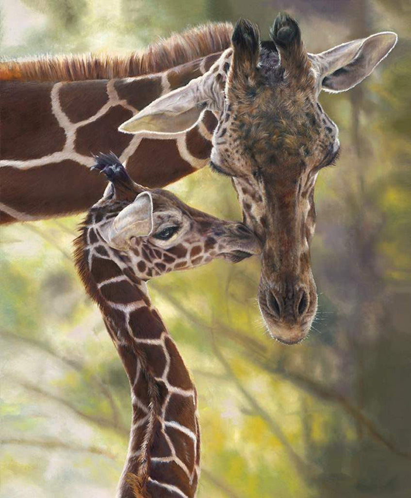 SALE On Safari Giraffe Poster Panel P10454 by Riley Blake Designs - Outdoors Wildlife Mother Baby Giraffes - Quilting Cotton Fabric