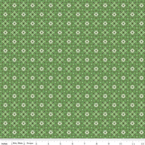SALE Flea Market Wallpaper C10214 Clover - Riley Blake Designs -  Flowers Floral Trellis Daisies Green - Lori Holt  - Quilting Cotton Fabric