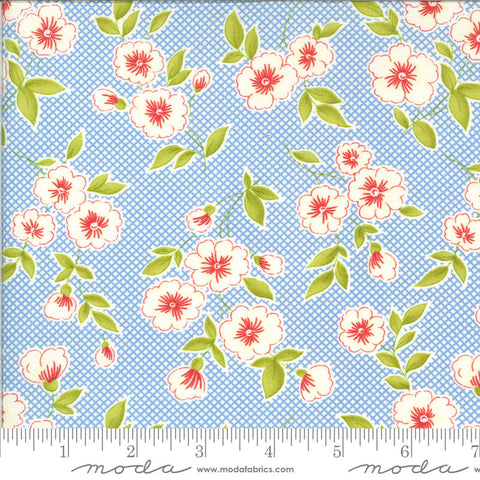Figs and Shirtings Pinafore 20390 Cornflower - Moda Fabrics - Floral Flowers Diagonal Check Background Blue Natural - Quilting Cotton Fabric
