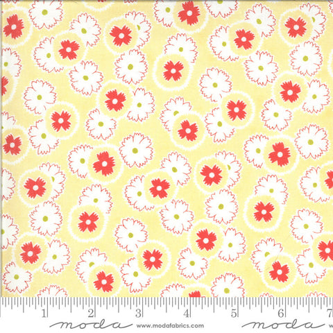Figs and Shirtings Jelly and Jam 20392 Churned Butter - Moda Fabrics - Floral Flowers Yellow Red Natural - Quilting Cotton Fabric