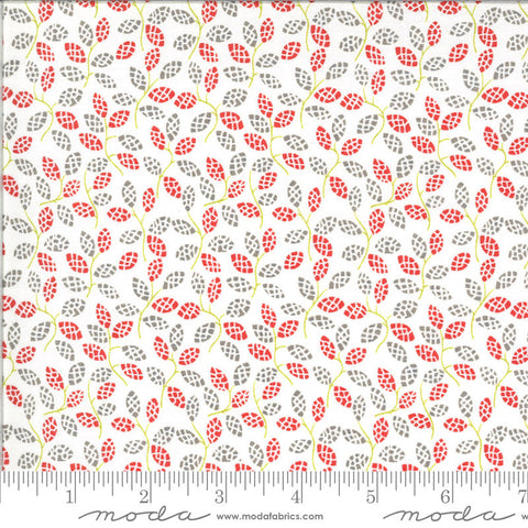 Figs and Shirtings Sugar Sack 20394 Dusk - Moda Fabrics - Floral Leaves Sprigs Gray Grey Red on Natural - Quilting Cotton Fabric