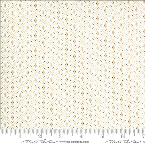 Figs and Shirtings Nanas Pajamas 20397 Linen Marmalade - Moda Fabrics - Geometric Diamonds Orange Natural Off-White - Quilting Cotton Fabric
