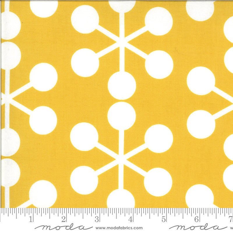 Quotation Asterisk 1731 Mustard - Moda Fabrics - Yellow Gold with Natural Off-White Geometrics Geometric - Quilting Cotton Fabric