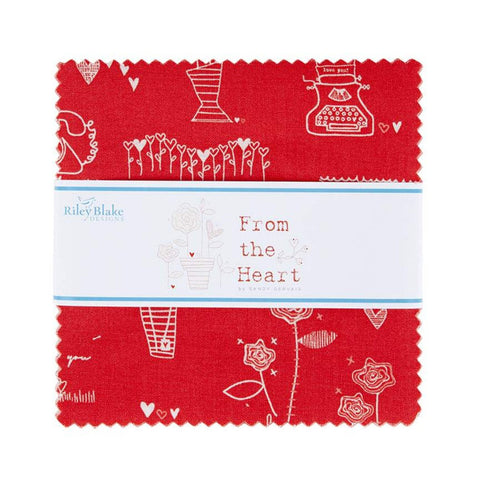 "From the Heart Charm Pack 5"" Stacker Bundle - Riley Blake Designs - 42 piece Precut Pre cut - Valentine's Day - Quilting Cotton Fabric"