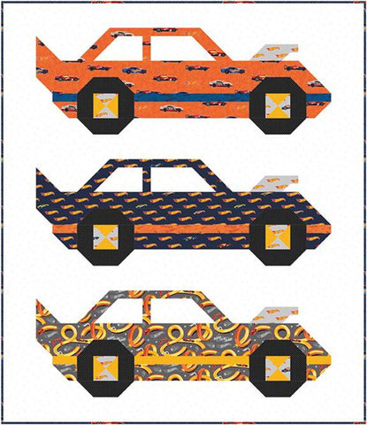 SALE Hot Wheels Speed Club Quilt Boxed Kit - Riley Blake Designs - Keepsake Box Pattern Fabric - Sandy Gervais - Quilting Cotton Fabric