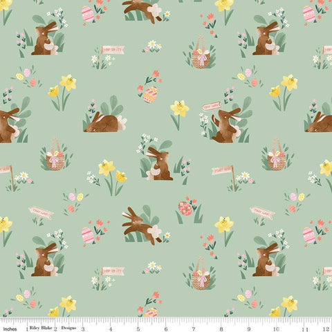SALE Easter Egg Hunt Main C10270 Mint - Riley Blake Designs - Spring Bunnies Rabbits Baskets Flowers Eggs Green -  Quilting Cotton Fabric