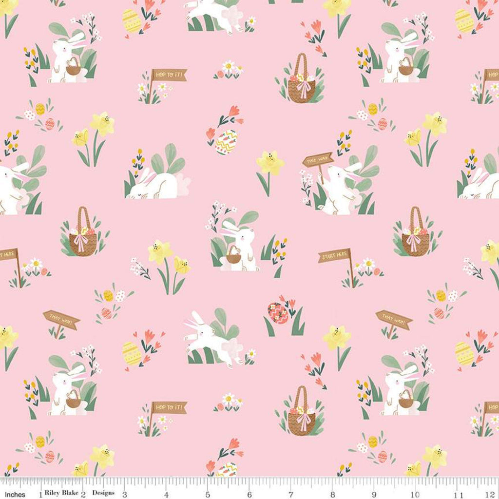 SALE Easter Egg Hunt Main C10270 Powder - Riley Blake Designs - Spring Bunnies Rabbits Baskets Flowers Eggs Pink -  Quilting Cotton Fabric