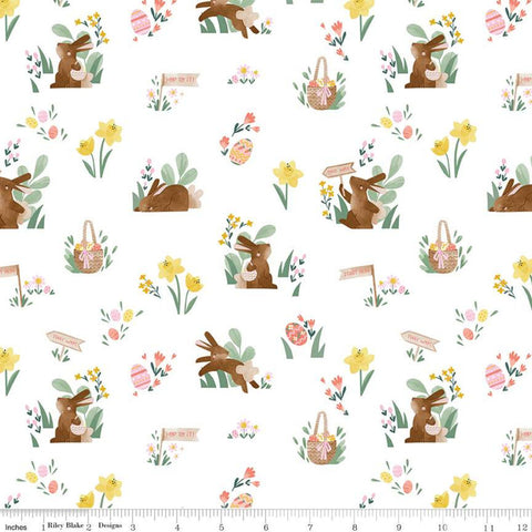 Easter Egg Hunt Main C10270 White - Riley Blake Designs - Spring Bunnies Rabbits Baskets Flowers Eggs - Quilting Cotton Fabric