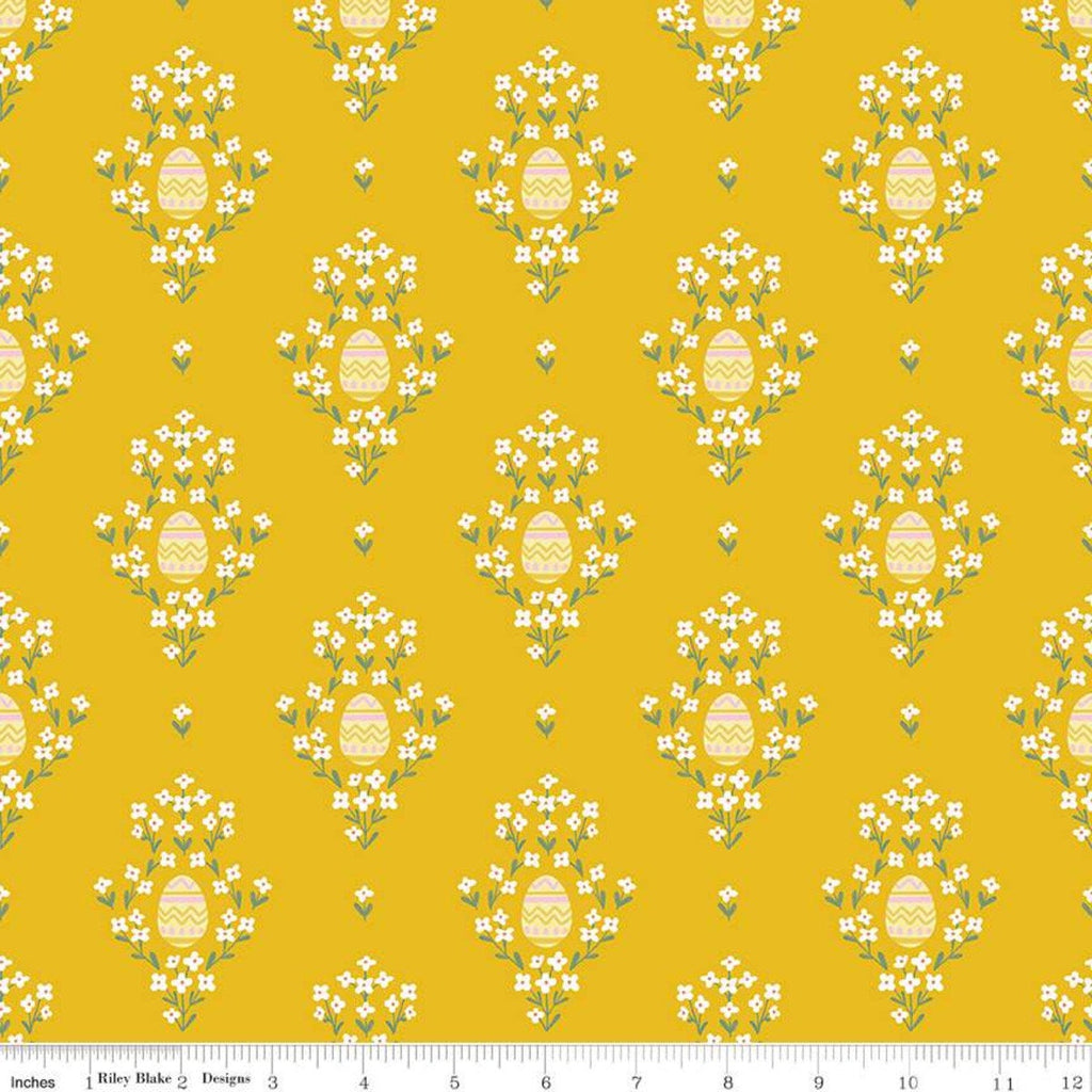SALE Easter Egg Hunt Eggs C10271 Mustard - Riley Blake Designs - Spring Floral Flowers Gold Yellow - Quilting Cotton Fabric