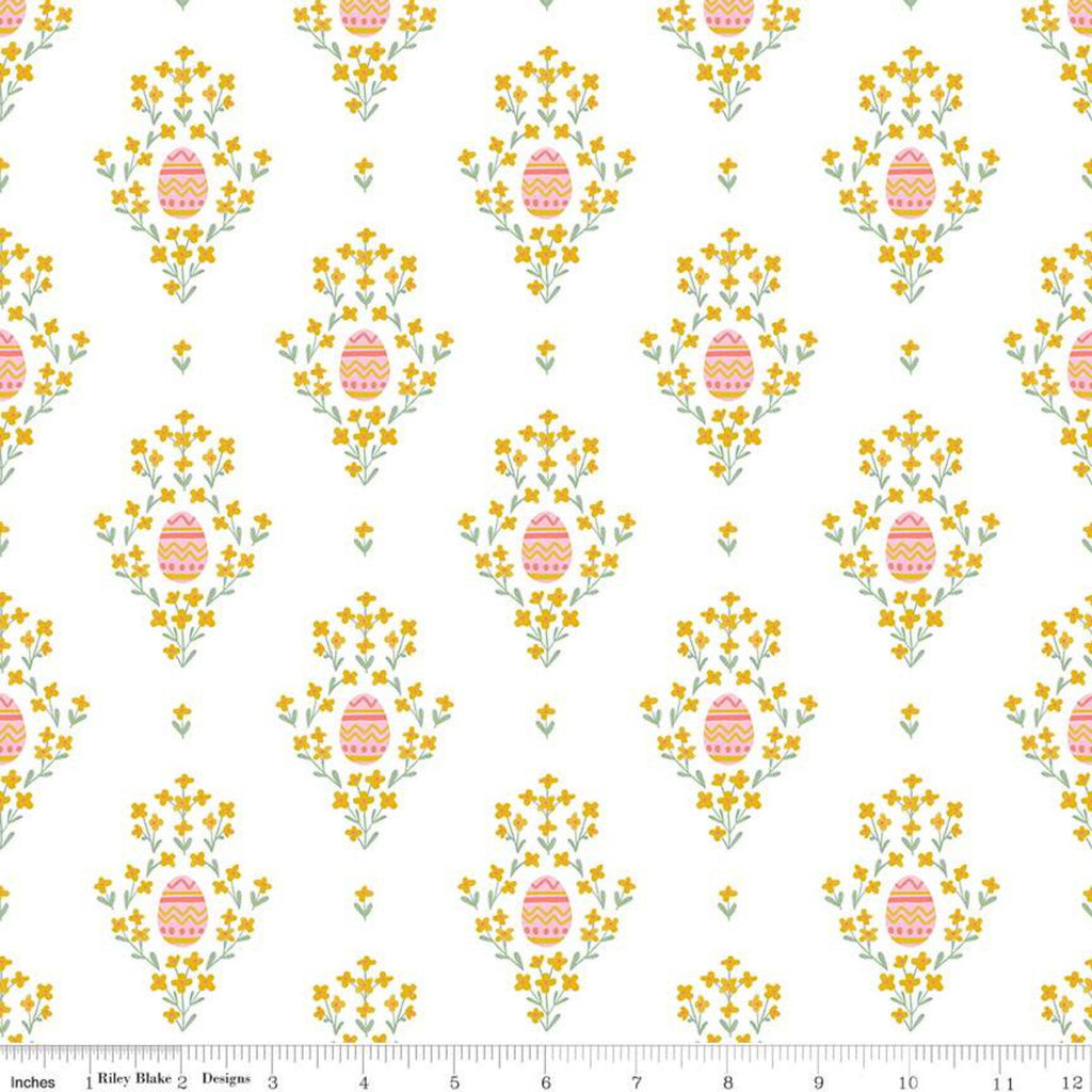 SALE Easter Egg Hunt Eggs C10271 White - Riley Blake Designs - Spring Floral Flowers - Quilting Cotton Fabric