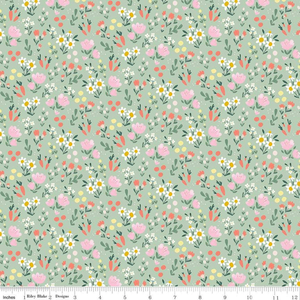 Easter Egg Hunt Floral C10274 Mint - Riley Blake Designs - Spring Flowers Dots Carrots Green - Quilting Cotton Fabric