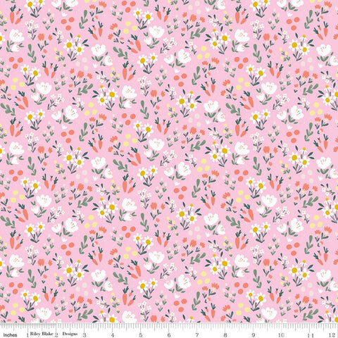 SALE Easter Egg Hunt Floral C10274 Pink - Riley Blake Designs - Spring Flowers Dots Carrots - Quilting Cotton Fabric