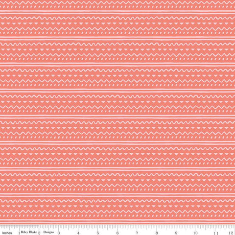 SALE Easter Egg Hunt Geo C10275 Coral - Riley Blake Designs - Spring Stripes Wavy Lines Dots Triangles Orange Pink - Quilting Cotton Fabric