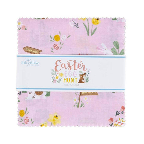 "SALE Easter Egg Hunt Charm Pack 5"" Stacker Bundle - Riley Blake Designs - 42 piece Precut Pre cut - Bunnies Eggs - Quilting Cotton Fabric"