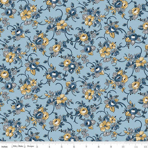 Delightful Bouquet C10251 Blue - Riley Blake Designs - Floral Flowers - Quilting Cotton Fabric