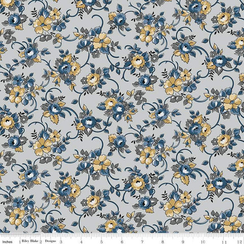 SALE Delightful Bouquet C10251 Gray - Riley Blake Designs - Floral Flowers - Quilting Cotton Fabric