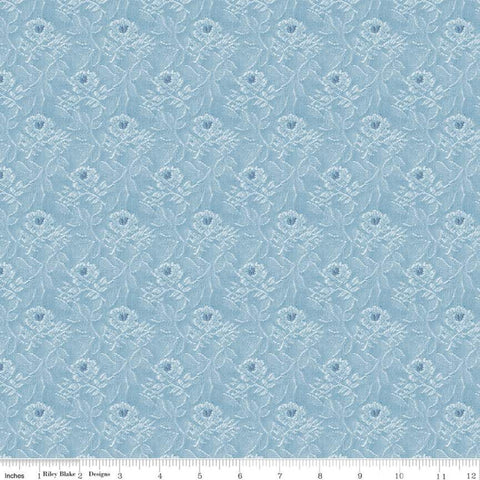 Delightful Tapestry C10253 Blue - Riley Blake Designs - Floral Flowers Tone-on-tone Roses - Quilting Cotton Fabric