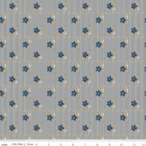 SALE Delightful Stripes C10255 Gray - Riley Blake Designs - Floral Flowers on Striped Background - Quilting Cotton Fabric