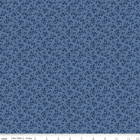 Delightful Vines C10257 Blue - Riley Blake Designs - Floral Flowers Tone-on-Tone - Quilting Cotton Fabric