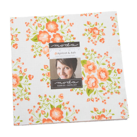 "Apricot and Ash Layer Cake 10"" Stacker Bundle - Moda Fabrics - 42 piece Precut Pre cut - Floral Flowers - Quilting Cotton Fabric"
