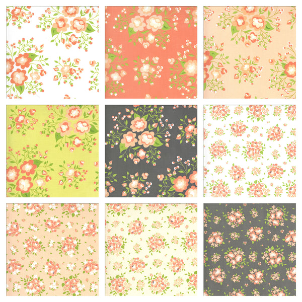 "Apricot and Ash Charm Pack 5"" Stacker Bundle - Moda Fabrics - 42 piece Precut Pre cut - Floral Flowers - Quilting Cotton Fabric"