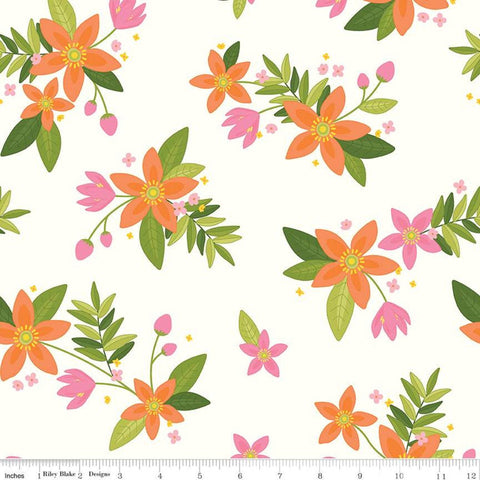 Grove Main C10140 Cloud - Riley Blake Designs - Floral Off-White with Orange Pink Flowers - Quilting Cotton Fabric