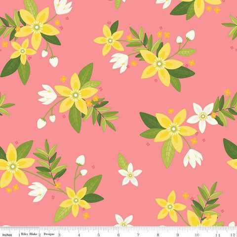 SALE Grove Main C10140 Grapefruit - Riley Blake Designs - Floral Pink with Yellow Off-White Flowers - Quilting Cotton Fabric