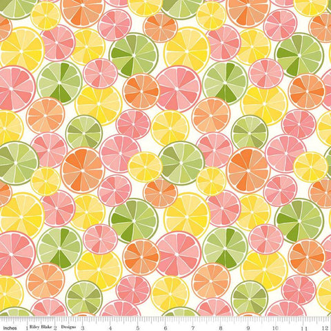 SALE Grove Slices C10141 Multi - Riley Blake Designs - Citrus Fruit Circles Yellow Pink Orange Green on Off-White - Quilting Cotton Fabric