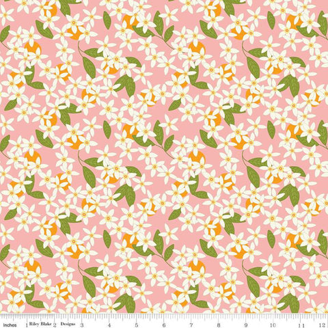 Grove Blossoms C10142 Grapefruit - Riley Blake Designs - Floral Pink with Off-White Flowers - Quilting Cotton Fabric