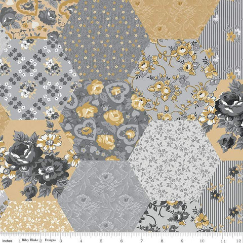 "Delightful Patchwork WIDE BACK WB10258 Gray - Riley Blake Designs - 107/108"" Wide Flowers Hexagons Gray Gold  - Quilting Cotton Fabric"