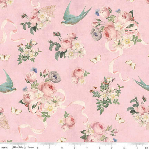 Rose and Violet's Garden Main C10410 Blush - Riley Blake Designs - Floral Flowers Birds Butterflies Ribbons Pink - Quilting Cotton Fabric