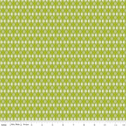 SALE Grove Rows C10144 Limeade - Riley Blake Designs - Geometric Green Off-White - Quilting Cotton Fabric