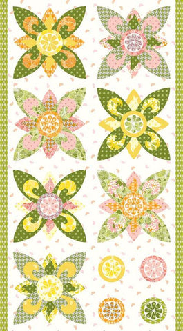 Grove Flower Panel P10147 White by Riley Blake Designs - Floral Flowers Citrus Fruit Wedges Gray - Quilting Cotton Fabric