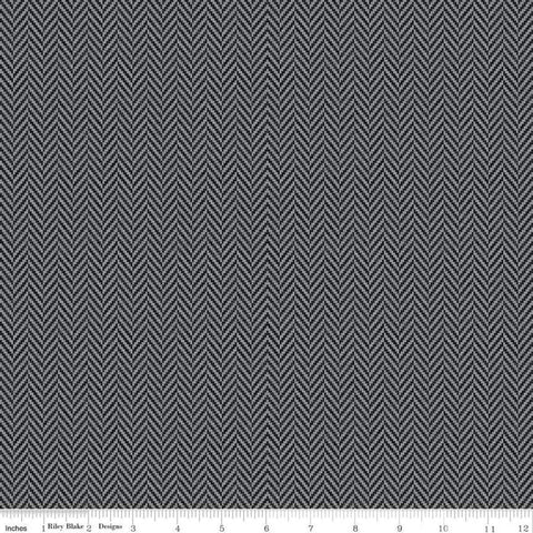 SALE All About Plaids Herringbone C636 Black by Riley Blake Designs - Broken Staggered Zig Zag Black Gray - Quilting Cotton Fabric
