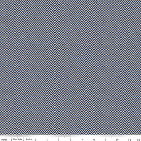SALE All About Plaids Herringbone C636 Blue by Riley Blake Designs - Broken Staggered Zig Zag Blue Gray - Quilting Cotton Fabric