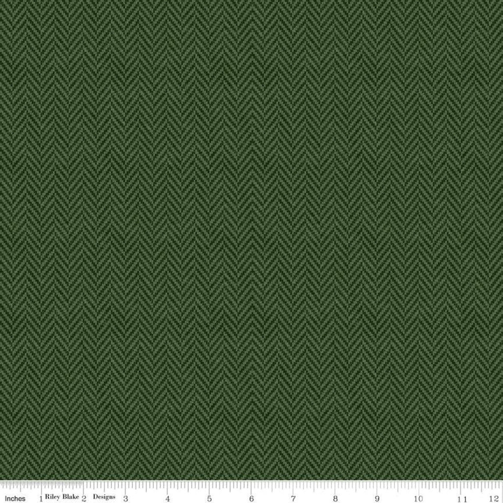 All About Plaids Herringbone C636 Green by Riley Blake Designs - Broken Staggered Zig Zag - Quilting Cotton Fabric