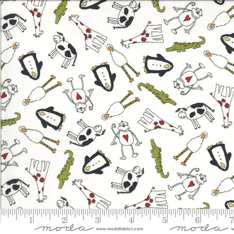 Animal Crackers Animals 5800 Vanilla - Moda Fabrics - Children's Cows Penguins Giraffes Monkeys Natural Off-White   - Quilting Cotton Fabric