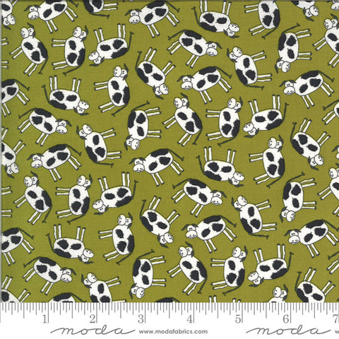 Animal Crackers Cows 5801 Pickle - Moda Fabrics - Children's Juvenile Cow Green Black Natural Off-White   - Quilting Cotton Fabric