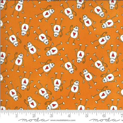 Animal Crackers Monkeys 5803 Tangerine - Moda Fabrics - Children's Juvenile Monkey Orange Natural Off-White   - Quilting Cotton Fabric