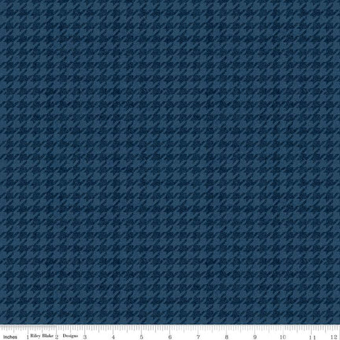 All About Plaids Houndstooth C637 Blue by Riley Blake Designs - Broken Check - Quilting Cotton Fabric