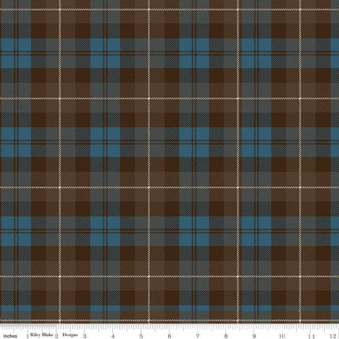 SALE All About Plaids Tartan C638 Brown Blue - Riley Blake Designs - Plaid - Quilting Cotton Fabric