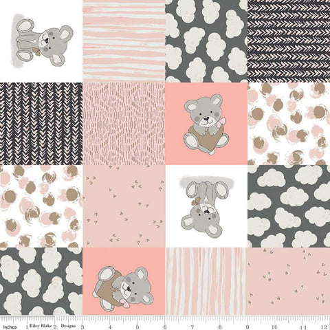 "Sleep Tight Cheater SC10261 Pink SPARKLE - Riley Blake - 3"" Patchwork Squares Bears Hearts Clouds Champagne SPARKLE - Quilting Cotton Fabric"
