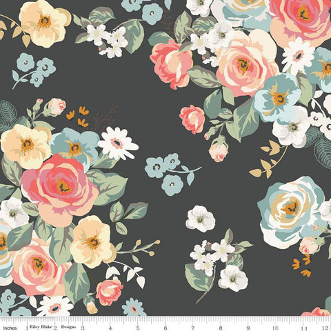 SALE Gingham Gardens Main C10350 Charcoal - Riley Blake Designs - Flowers Floral Dark Gray - Quilting Cotton Fabric
